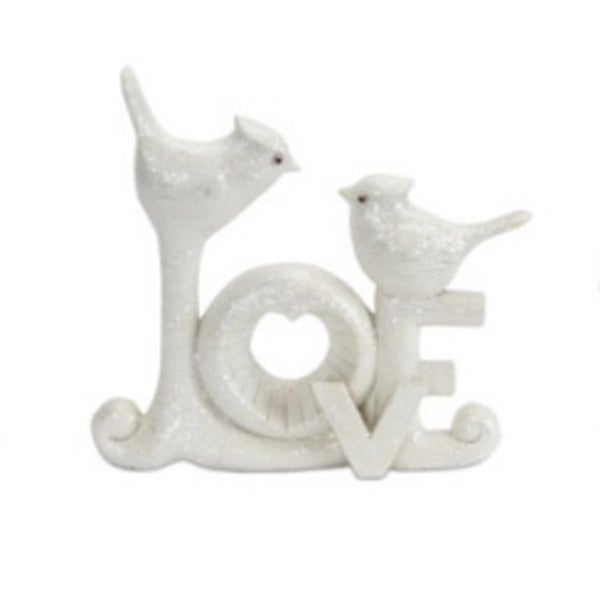 """8"""" Ivory White """"Love"""" with Birds Christmas Table Topper"""