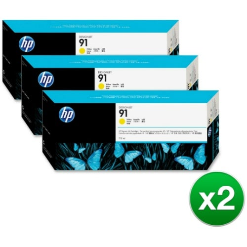 HP 91 775-ml 3 Yellow DesignJet Pigment Ink Cartridges (C9485A) (2-Pack)