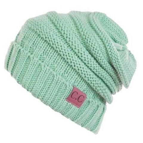 Unisex Soft Stretch Oversized Knit Slouchy Beanie (Mint)