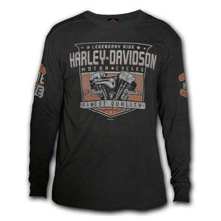 Harley-Davidson Men's Meridian Distressed Premium Long Sleeve Shirt, Carbon Wash (4 options available)