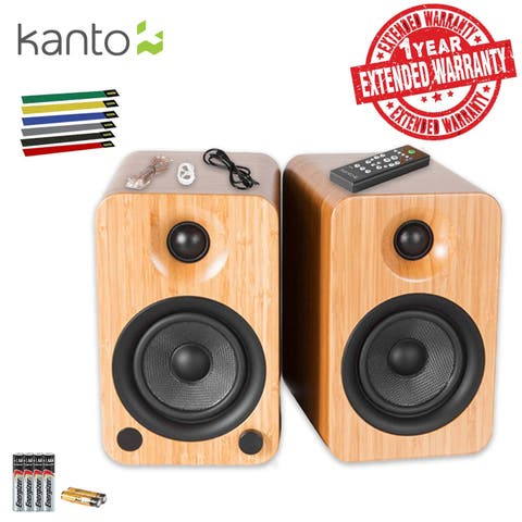 Kanto Living YU4 2-Way Powered Bookshelf Speakers Includes Extra Batteries + Extended Warranty