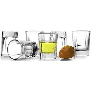Palais Glassware Elegent Heavy Base Carre Collection, Square Shot Glass Set, 2 Ounce Set of 6 Diamond Cut Clear.