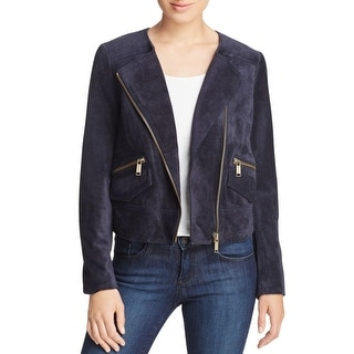 MICHAEL Michael Kors Womens Motorcycle Jacket Leather Long Sleeves - s