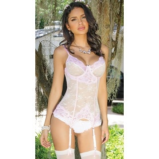 Girly Confessions Gartered Bustier, Hoty Pink Lace Bustier - White/Pink