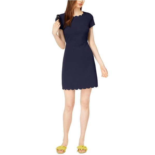 63ac197e Shop Maison Jules Scalloped Short Sleeve Sheath Dress Blu Notte - l - Free  Shipping On Orders Over $45 - Overstock - 22966421
