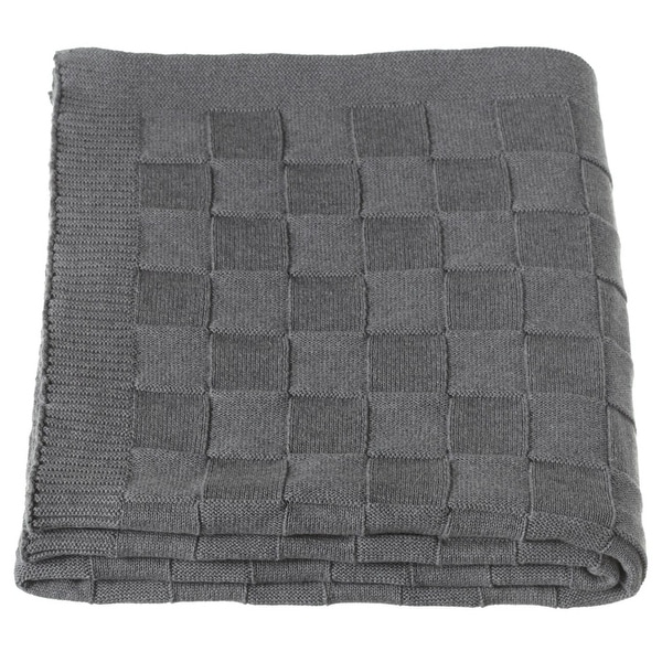"Cloud Grey Checkered Knit Pattern Rectangular Throw Blanket 60"" X 50"""
