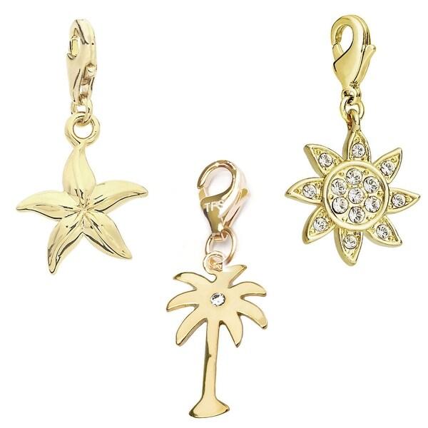 Julieta Jewelry Pal Tree, Starfish, Sun 14k Gold Over Sterling Silver Clip-On Charm Set