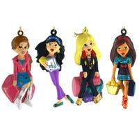 Set of 4 Bratz Kloe, Sasha, Yashim & Jade Christmas Ornaments - multi