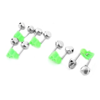 Unique Bargains Green Plastic Clip Metal Dual Spring Rod Bell Fishing Alert Fishing Alarm