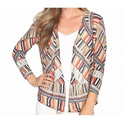 Nic+Zoe Women's Sweater Orange Size XL Cardigan Abstract Print Knit
