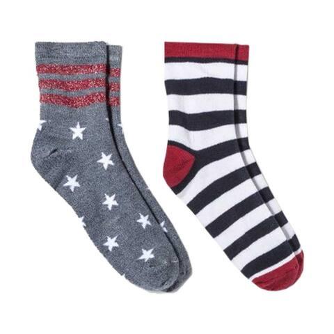 HYP Comics Americana USA 4th of July Crew Socks 2-Pack Shoe Size 4-10 - Shoe Size 4-10