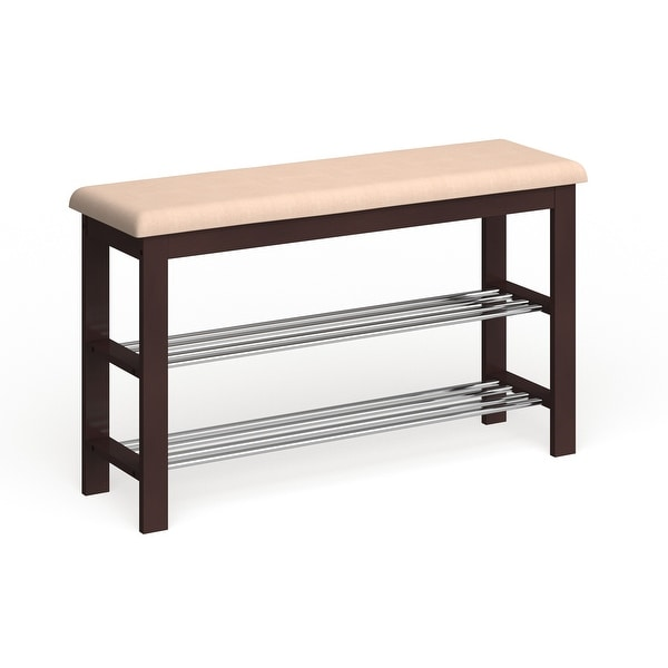 Porch & Den Champa Metal and Wood Shoe Rack Bench. Opens flyout.