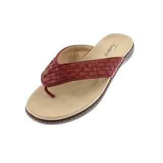 Trotters Womens Kristina Leather Basketweave Thong Sandals