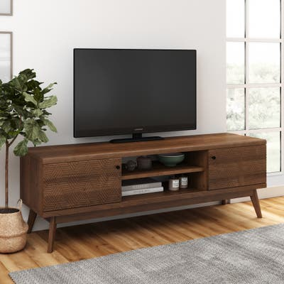 Living Skog Mid-century TV Stand for Tv's up to 65 inches Walnut Brown