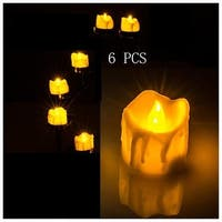 6 PCS Flameless Smokeless LED Tealight Candles Battery Operated for Wedding/Party Amber Yellow