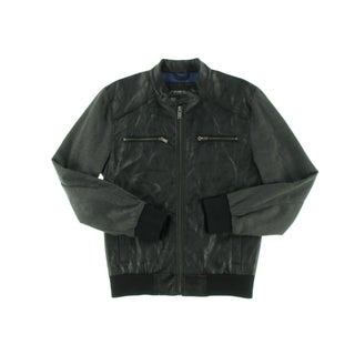 Guess Mens Athletic Jacket Faux Leather Contrast Sleeves