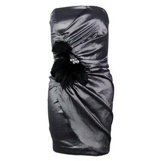 Betsy & Adam Women's Strapless Feather Brooch Dress - Black/Silver - 8