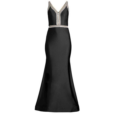 Basix Black Label Womens Sheer Cut-Out Rhinestone Embellished Gown 0 Black