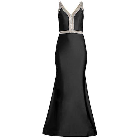 Basix Black Label Womens Sheer Cut-Out Rhinestone Embellished Gown 6 Black