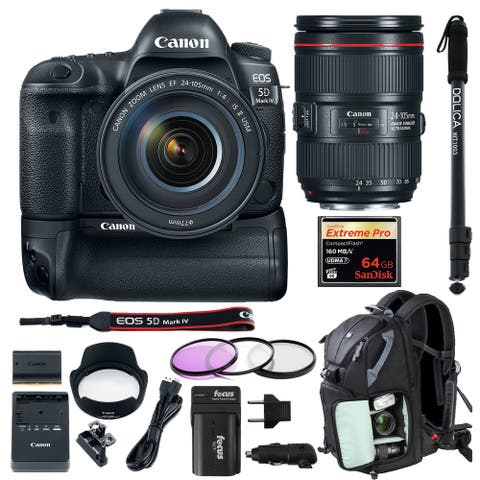Canon EOS 5D Mark IV EF 24-105mm f/4L IS II USM Lens and Battery Grip Bundle
