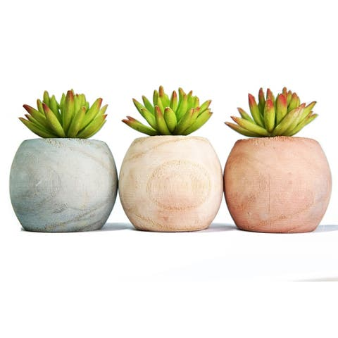 MODA MDW-108.5-814S wood pot with plastic plant - 3.35*4.72 inches