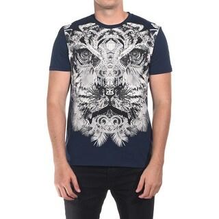 Just Cavalli Men Tiger T-Shirt Dark Navy