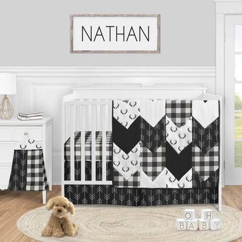 Black and White Buffalo Plaid Boy 4pc Nursery Crib Bedding Set - Woodland Rustic Country Farmhouse Check Deer Lumberjack Arrow