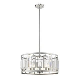 Z-Lite 19 in. Mersesse 5 Light Brushed Nickel Pendant Ceiling Light