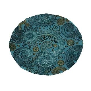 Blue Glass Floral Medallion Swirls Decorative Glass Dish 13 Inch