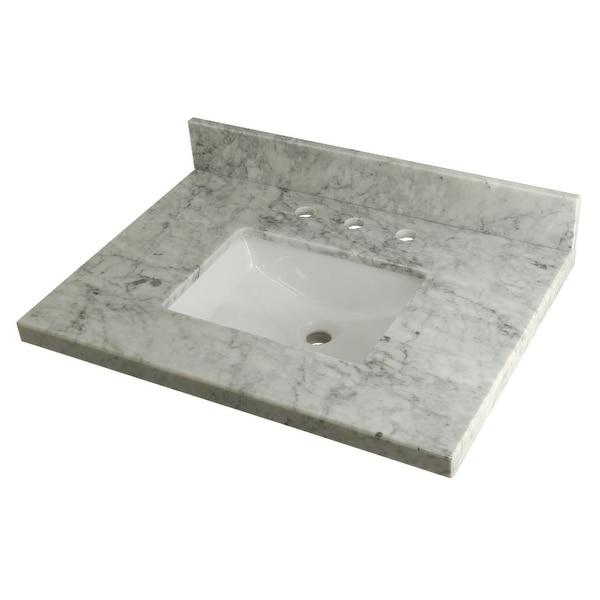 "Kingston Brass KVPB3022M38SQ 30"" Marble Vanity Top with Backsplash - Carrara Marble"