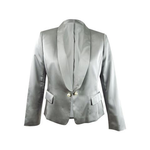 Tahari ASL Women's Faux-Pearl-Trim Jacket (16, Silver Grey)