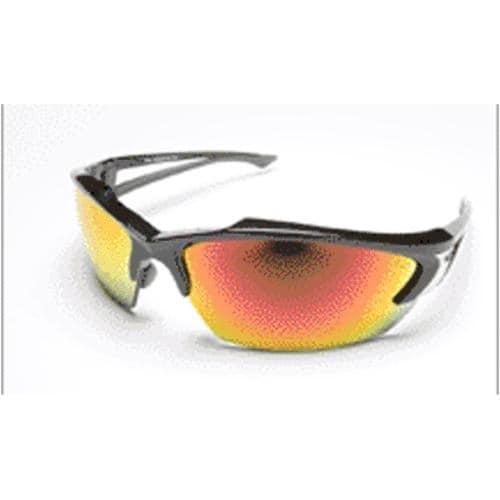 Edge Eyewear SDKAP119 Khor Safety Glasses,Black/Red Mirror Lens