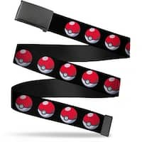 Blank Black  Buckle Poke Ball Repeat Black Webbing Web Belt