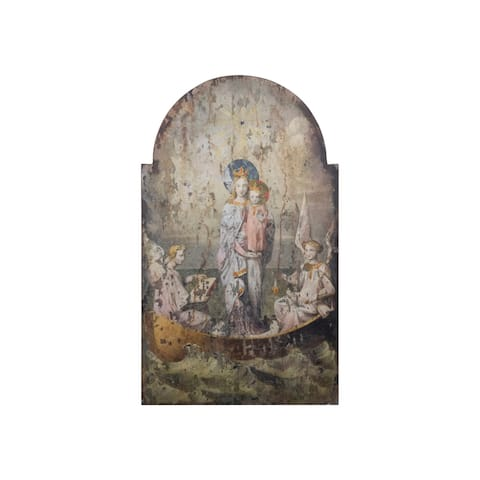 Vintage Mary & Angels Image on Decorative Wood Wall Decor - Grey