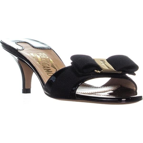 7919affcd3 Shop Salvatore Ferragamo Glory1 Mule Kitten Heels, Nero - Free ...