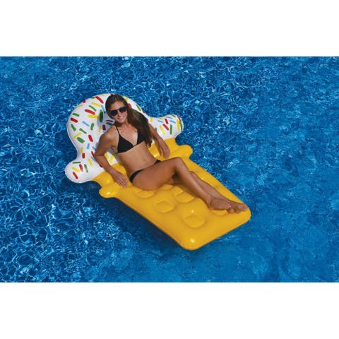 Inflatable Yellow and White Ice Cream Cone Floating Lounge Raft, 12-Inch