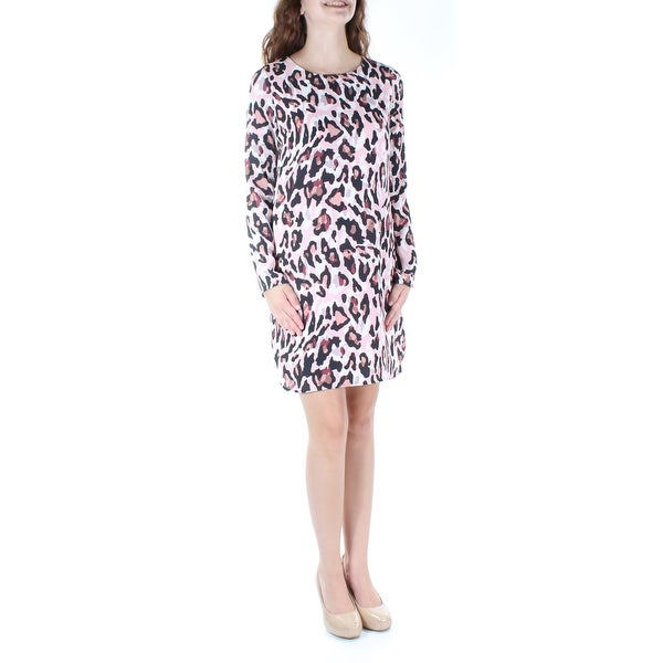 9afc3d094520e Womens Pink Animal Print Long Sleeve Above The Knee Tunic Dress Size: XS