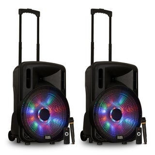 """Acoustic Audio PRTY151 Battery Powered 15"""" Bluetooth LED Speakers Wireless Mics"""
