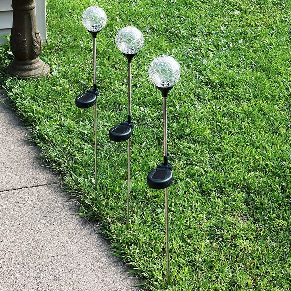 Sunnydaze Cracked Glass Ball with Multi Color LED Stake Solar Light - Set of 3