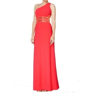 Betsy & Adam NEW Cerise Pink Gold Womens Size 0 Embellished Waist Gown
