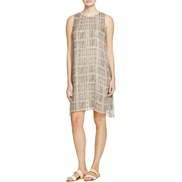 Eileen Fisher Womens Petites Tunic Dress Silk Graphic