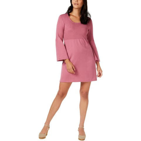 NY Collection Womens Petites Casual Dress Bell Sleeves Scoop Neck