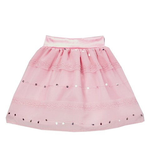 Little Girls Pink Sparkle Sequin Detail Embroidered A-Line Skirt 12M-6