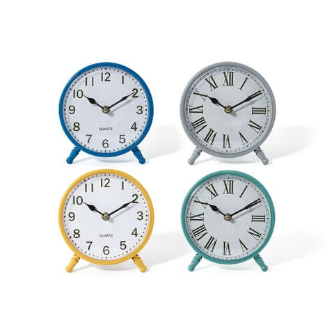 Set of 4 Vibrantly Colored Analog Modern Look Round Table Clocks 7""
