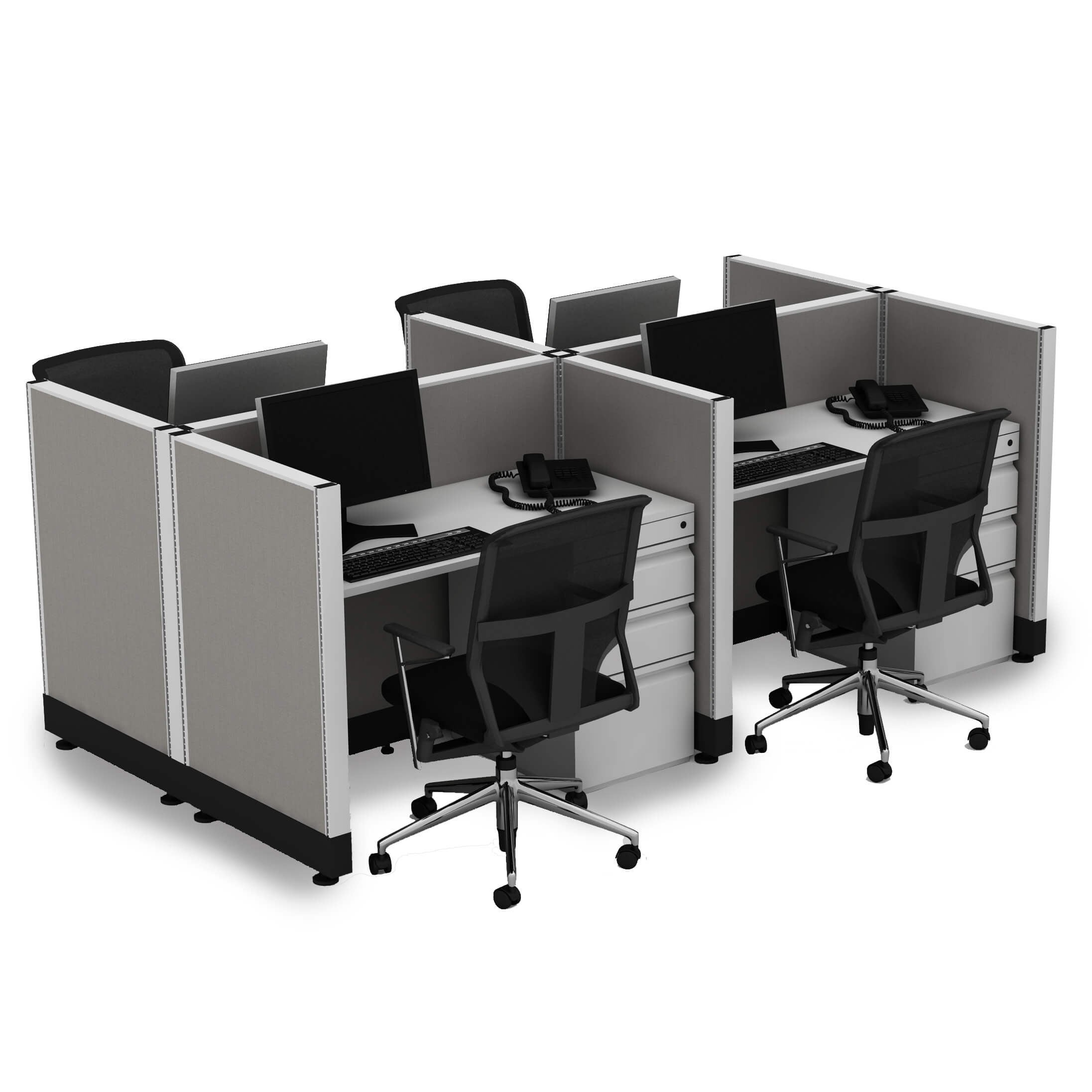 Small Cubicles 39H 4pack Cluster Powered (4x4 - White Desk Silver Paint - Assembly Required)