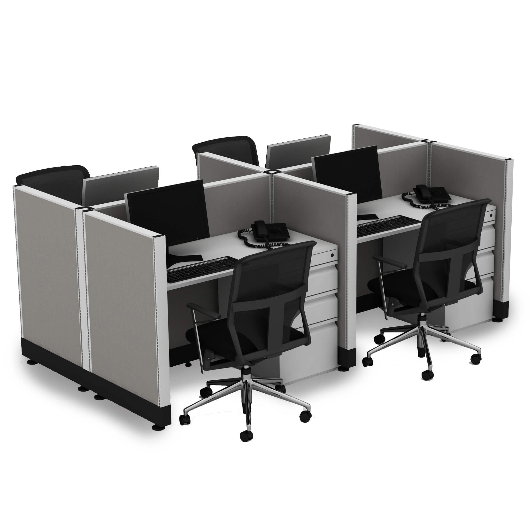 Small Cubicles 39H 4pack Cluster Powered (3x4 - Espresso Desk White Paint - Assembled)