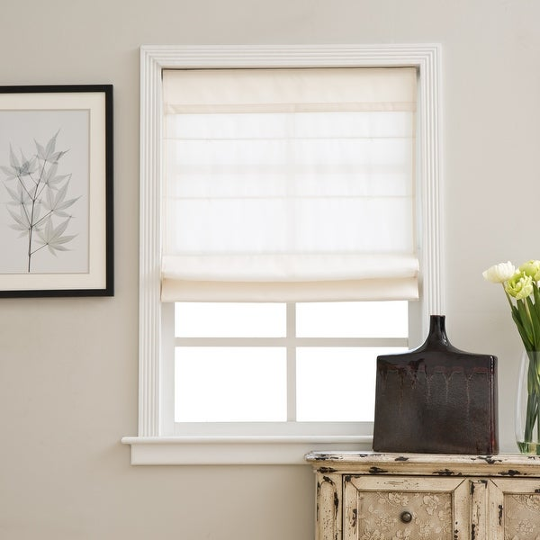 Arlo Blinds Ivory Light Filtering Cordless Fabric Roman Shades. Opens flyout.