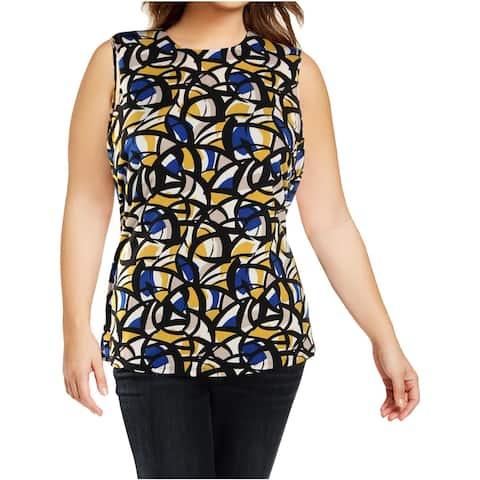 Kasper Womens Plus Shell Printed Cap Sleeve