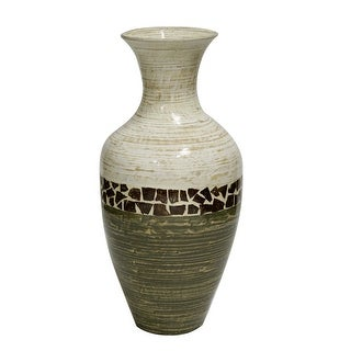 """25"""" Spun Bamboo Floor Vase - Bamboo In White And Green W/ Coconut Shell"""
