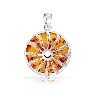 Bling Jewelry Synthetic Honey Amber Sunburst Pendant .925 Sterling Silver - Orange